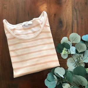 LOFT Scoopneck Sweater in Tan and Pale Pink